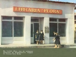 "Caption reads: ""The Flora Shop, one of the important houses, in which Comrade Enver Hoxha carried on his communist activity"""