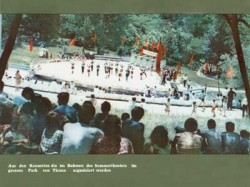 "Caption reads: ""Concert at the open theatre at the  Great Park of Tirana"""